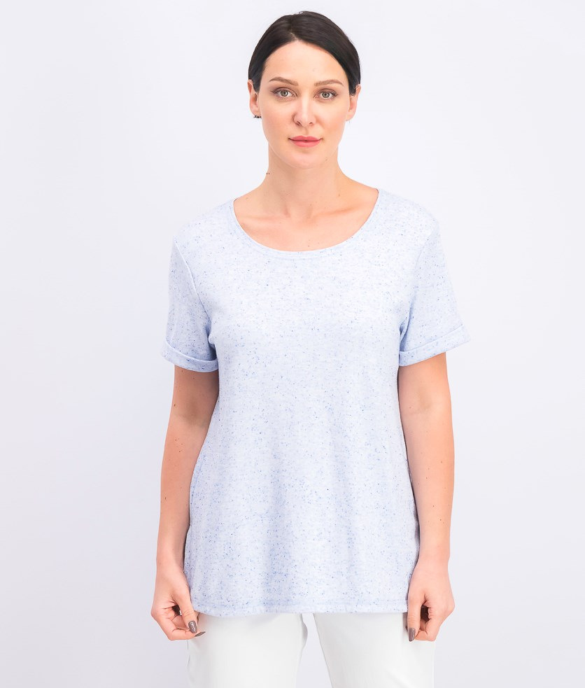 Women's Shirttail-Hem Short Sleeve Top, Light Blue Heather