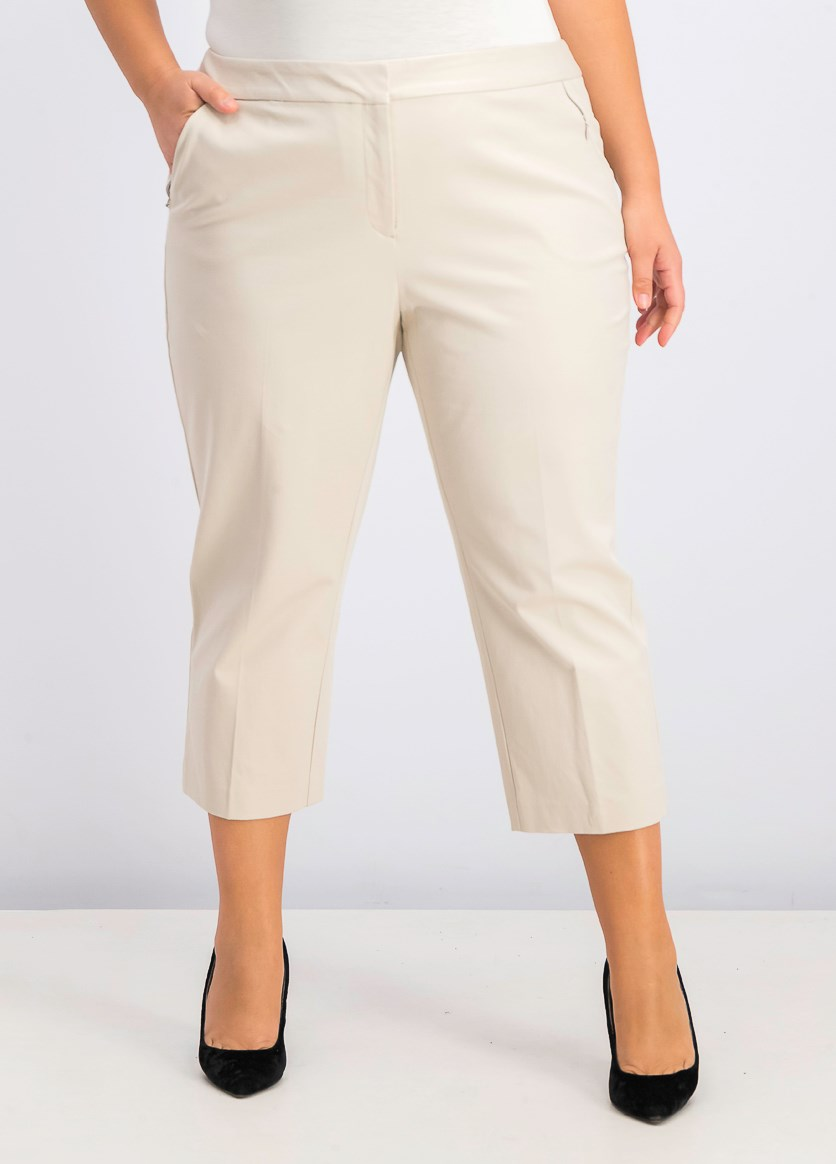 Women's Plus Size Capri Pants, Polished Beige