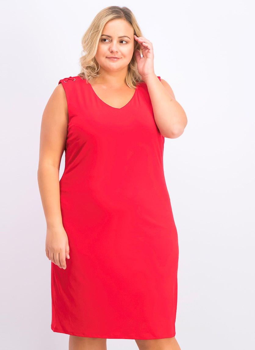 Grommet-Shoulder Sheath Dress, Red