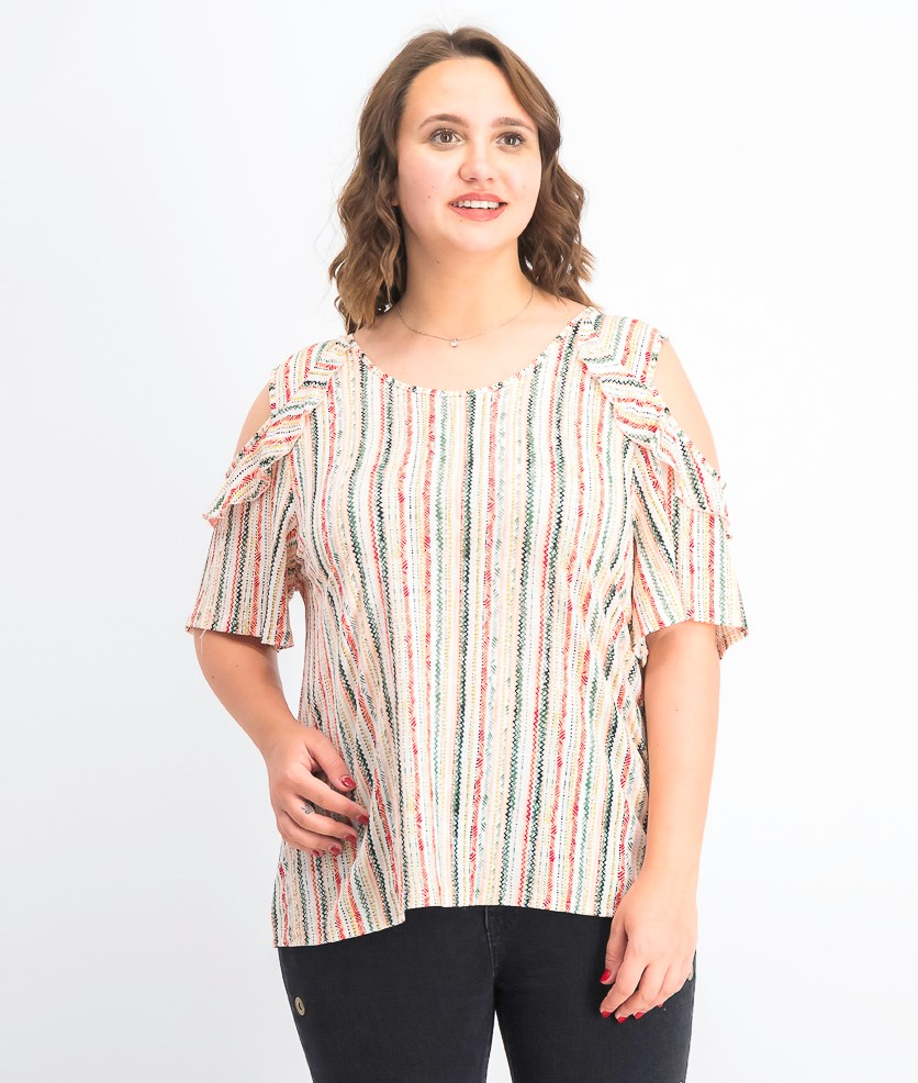 Women's Ruffled Cold-Shoulder Top, Pacific Stripe
