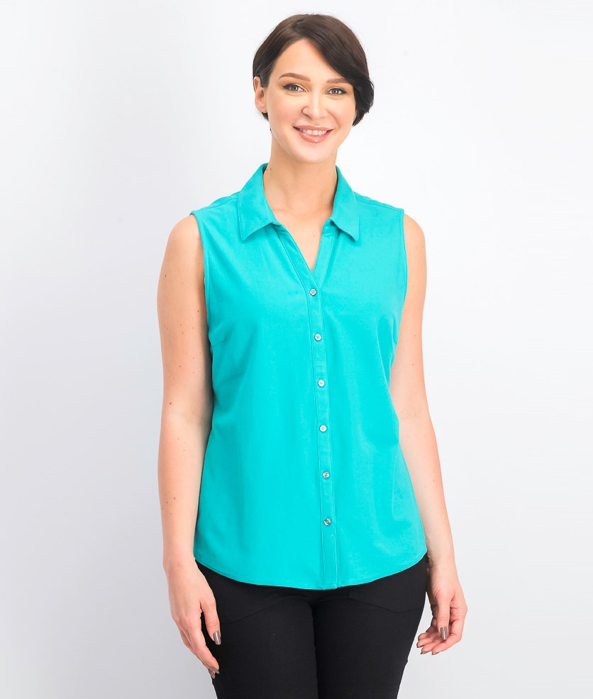 Women's Cotton Pique Sleeveless Shirt, Turquoise Stone