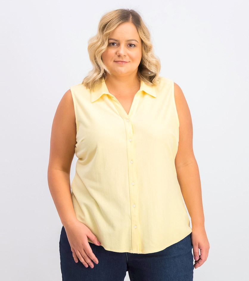 Women's Cotton Pique Sleeveless Shirt, Lemon Spritz