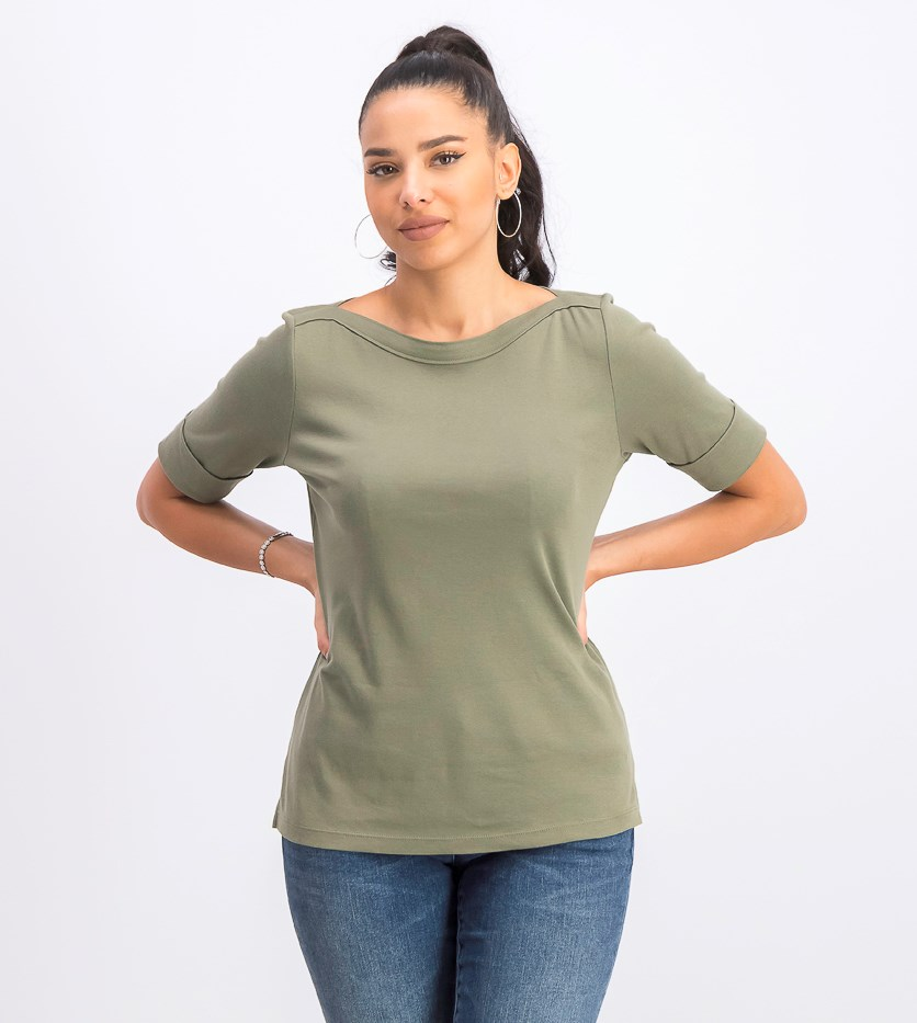 Women's Petite Elbow-Sleeve Top, Olive Spring