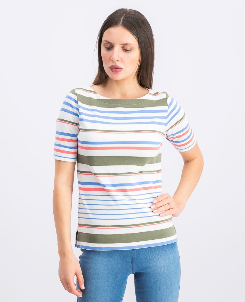 Women's Petite Lulu Striped T-Shirt, Bright White
