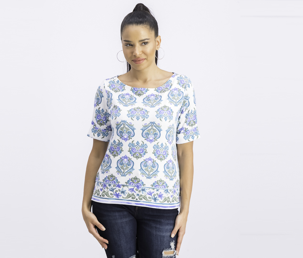 Women's Petite Printed Boat-Neck Top, Olive Sprig