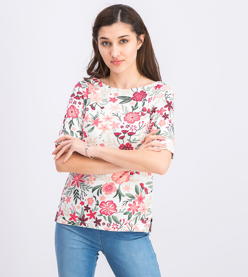 Women's Petite Floral-Print Boat-Neck Top, Peony Coral