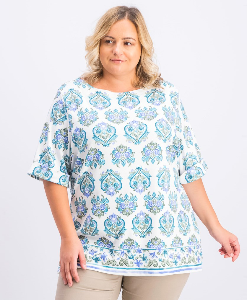 Women's Plus Size Printed T-Shirt, Olive Sprig