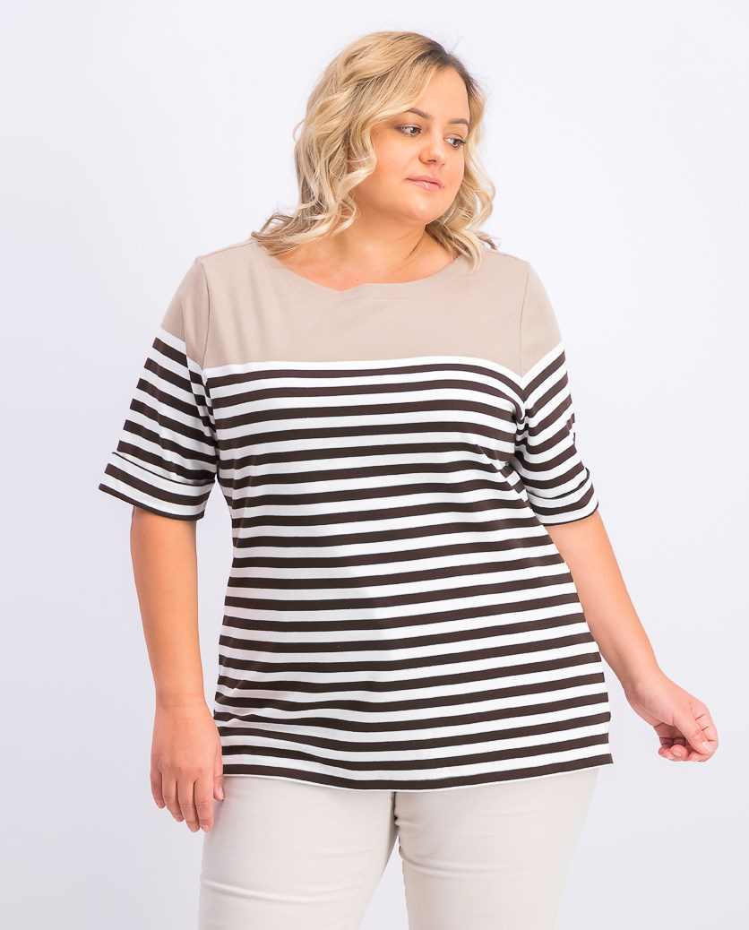 Women's Plus Size Lisa Striped Cuffed-Sleeve Top, Coconut Palm