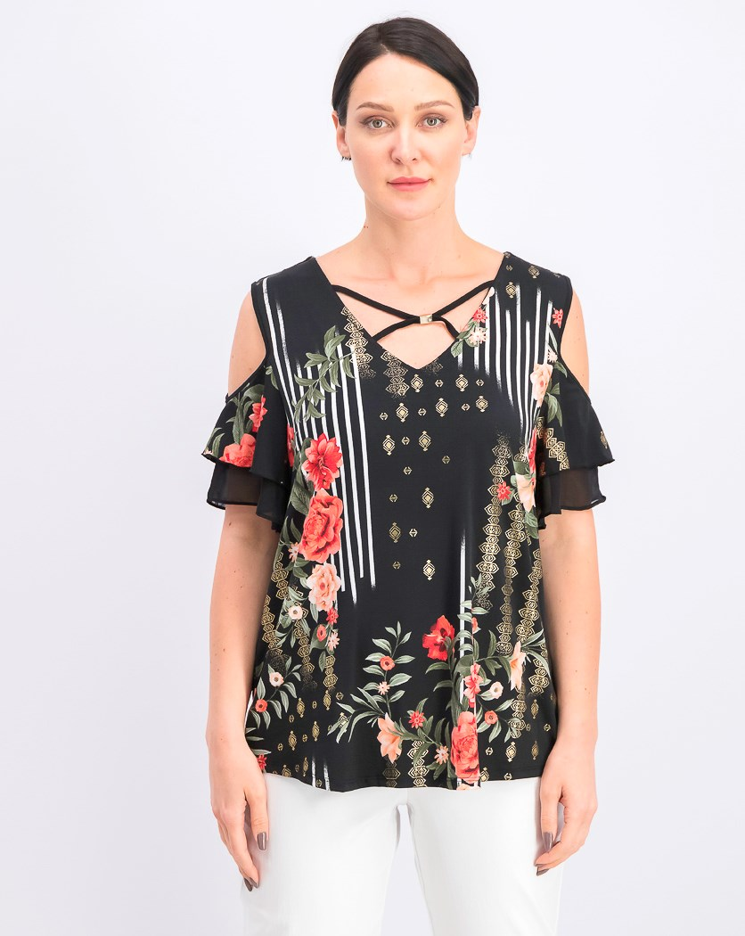Women's Printed Criss-Cross Cold-Shoulder Top, Black