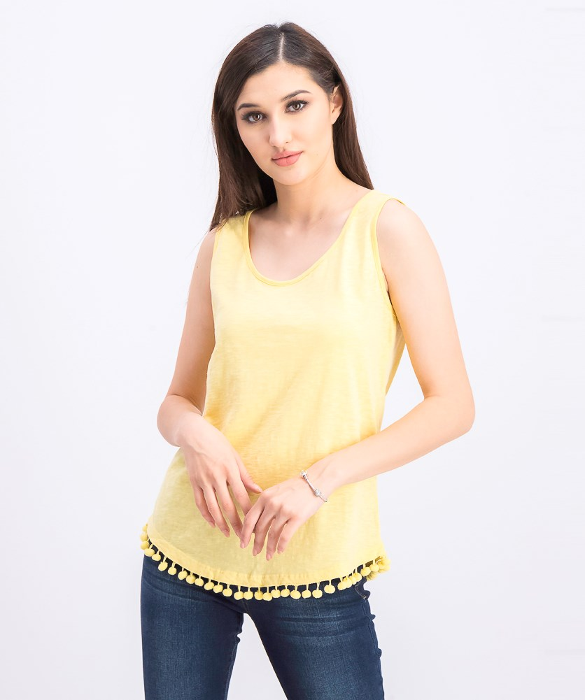 Cotton Pom Pom-Trim Tank Top, Yellow