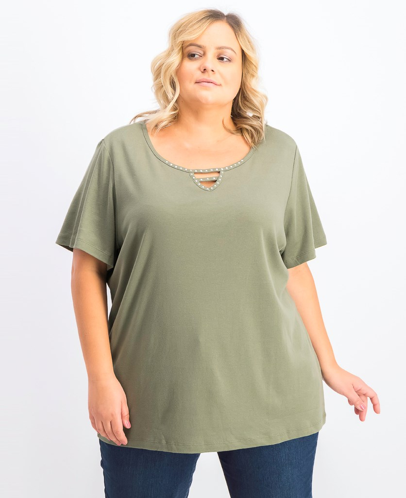 Women's Cotton Plus Size Embellished Top, Olive Spring