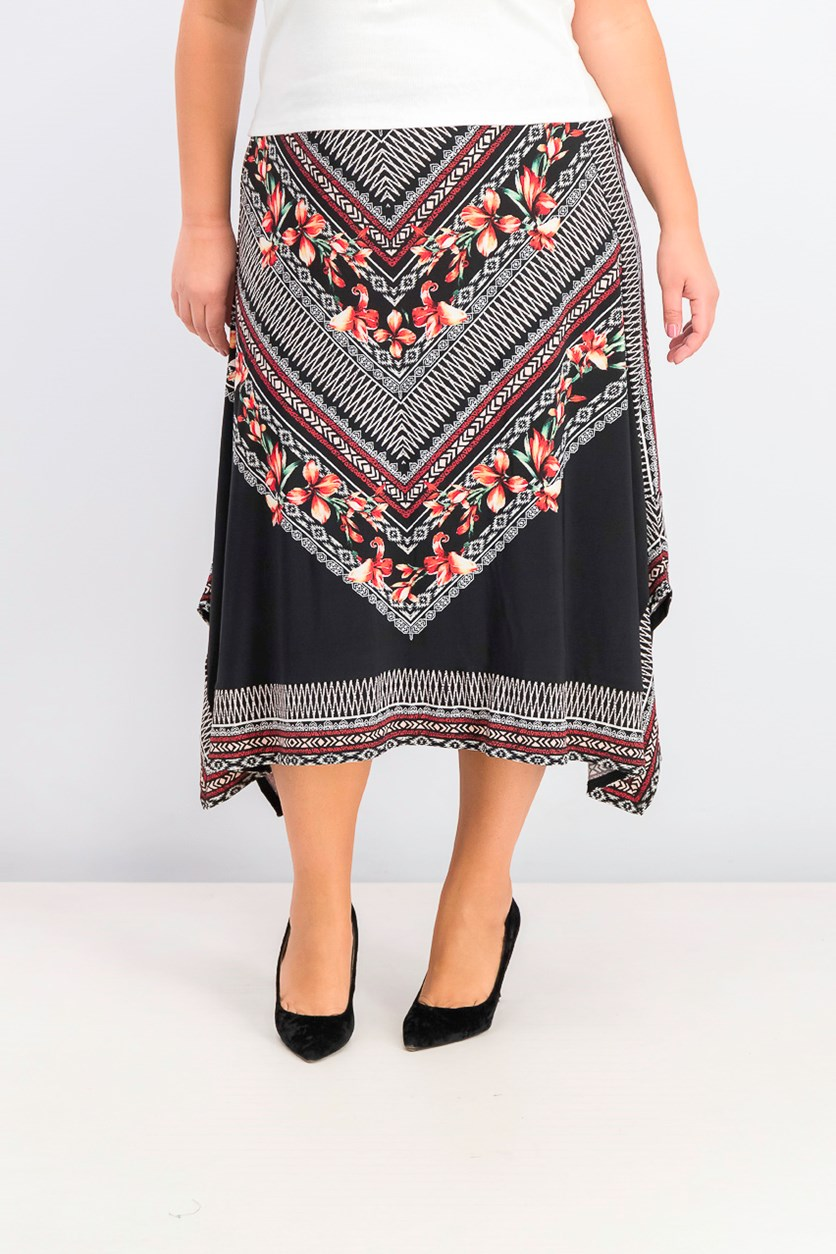 Women's Printed Handkerchief-Hem Skirt, Mitered Blossom