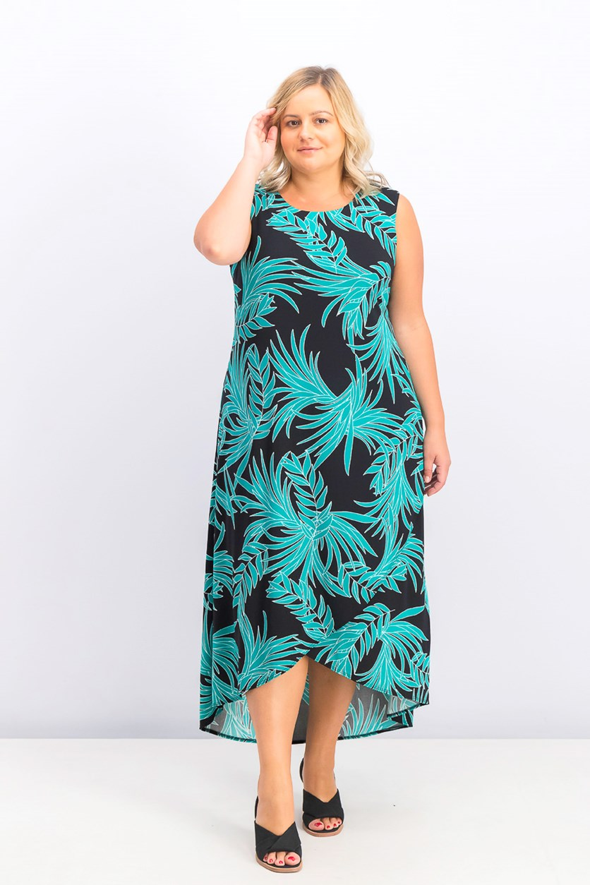 Women's Plus Size Printed Tulip-Hem Dress, Simple Palm