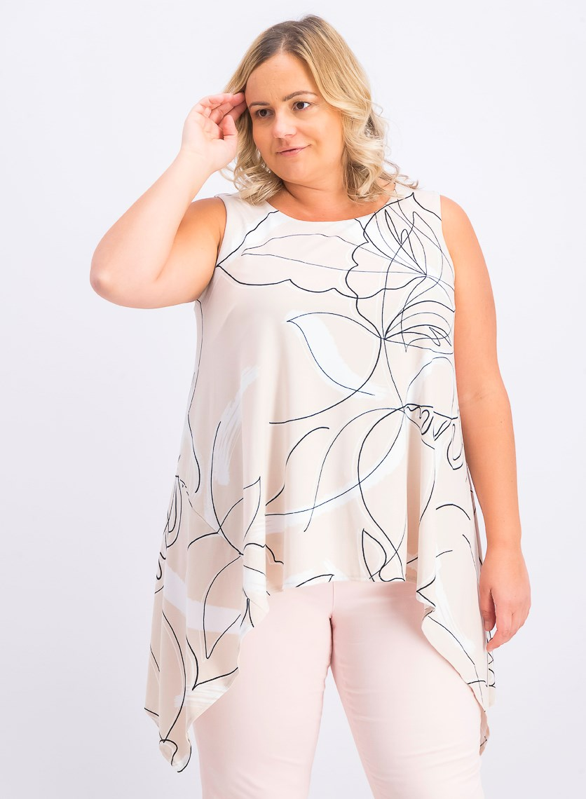 Women's Plus Size Abstract-Print Tunic, Contour Wash