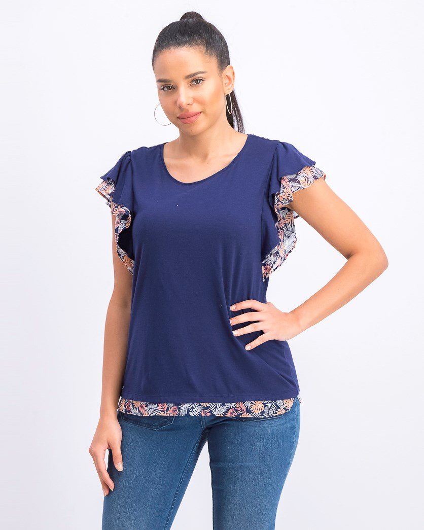 Women's  Printed Flutter-Sleeve Top, Navy
