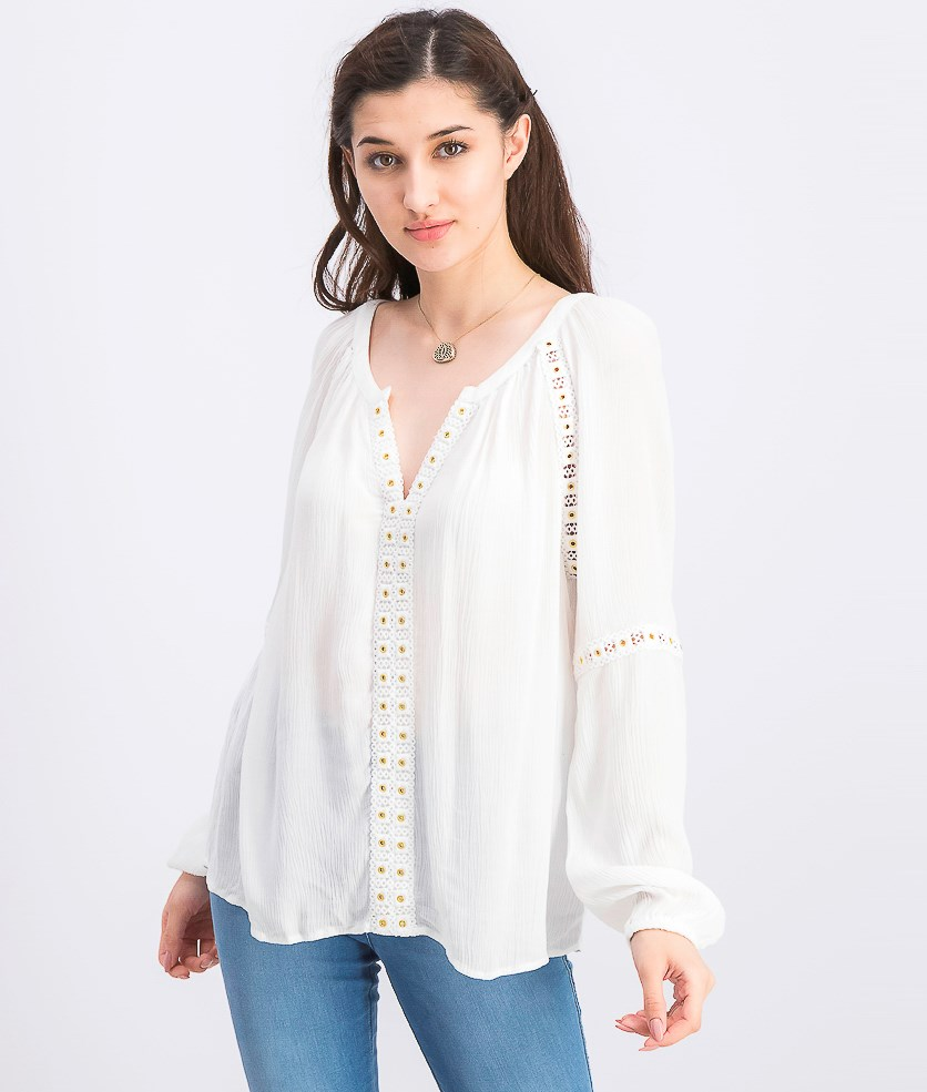 Womens Grommet-Trim Peasant Top, Bright White
