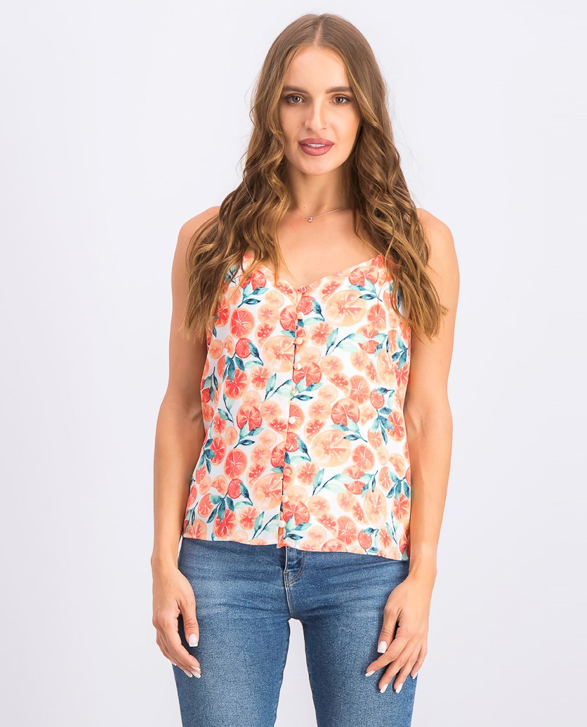Women's Button Down-Camisole, Citrus Splash