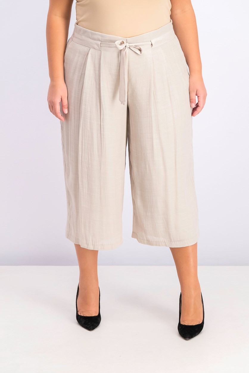 Plus Size Wide-Leg Capri Pants, Sugar Sand