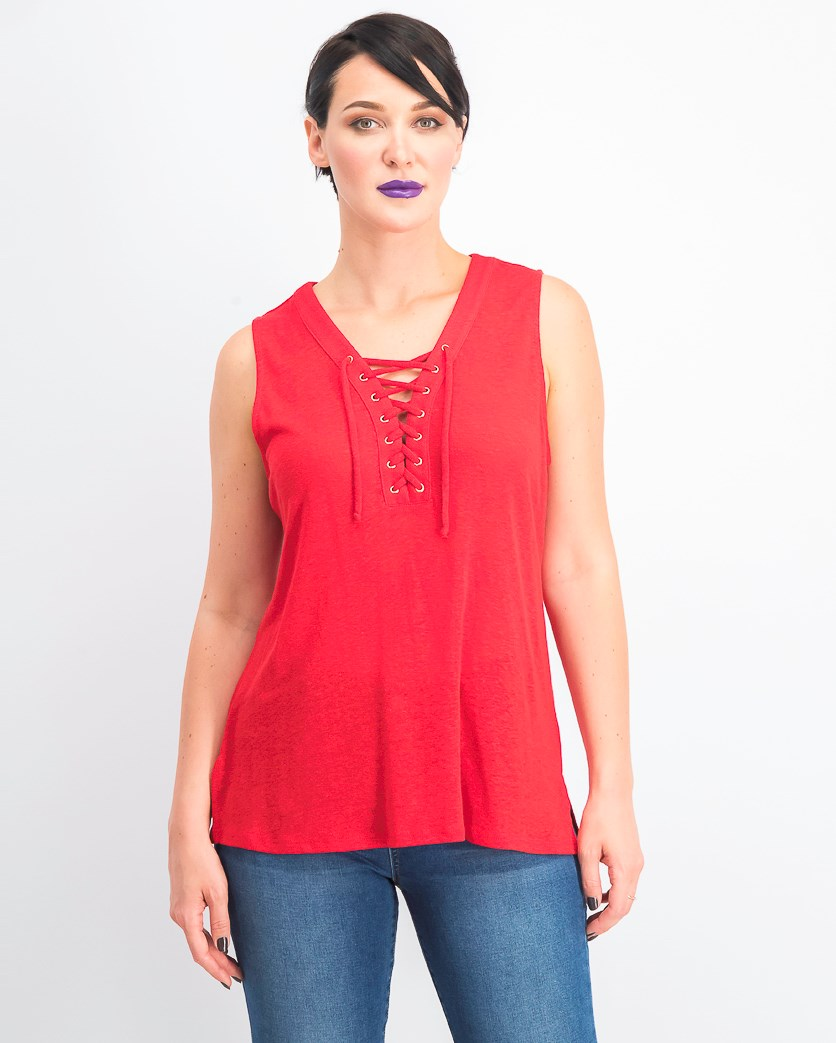 Women's Lace Up Top, Real Red