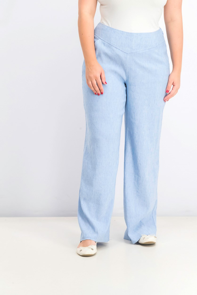 Women's Wide-Leg Pants, Chambray Blue