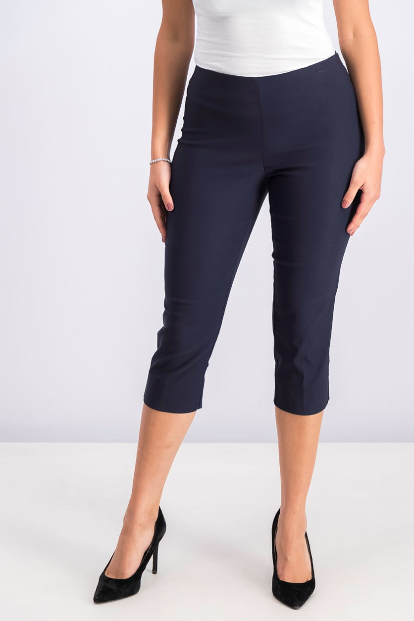 Petite Pull-on Capri Pants, Navy