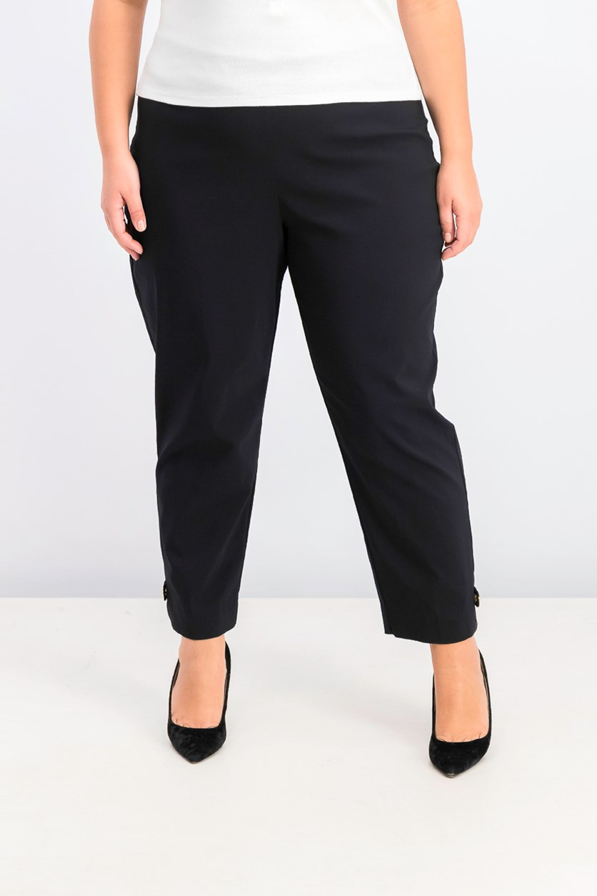 Women's Button-Hem Pull-on Pants, Black