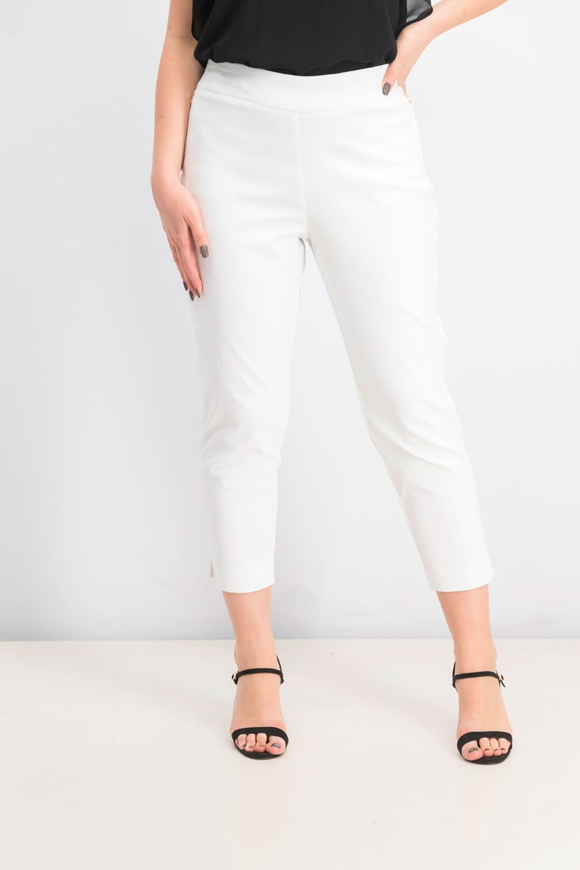 Women's Petite Tummy-Control Ankle Pants, Bright White
