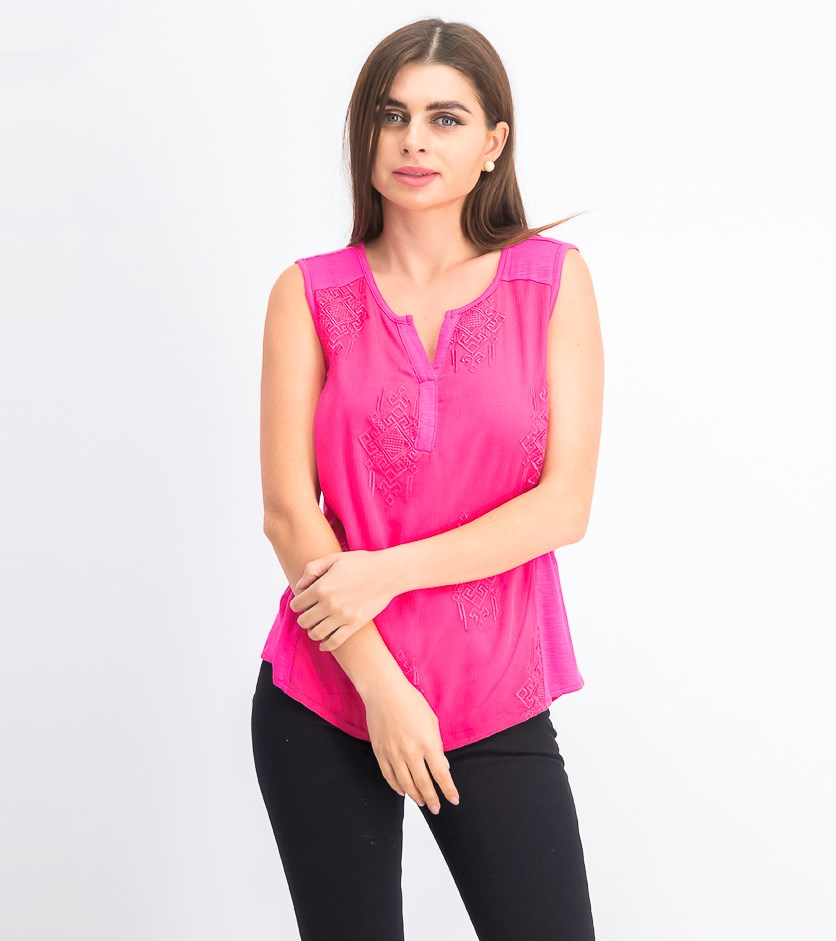 Women Petite Embroidered Top, Pink Breeze
