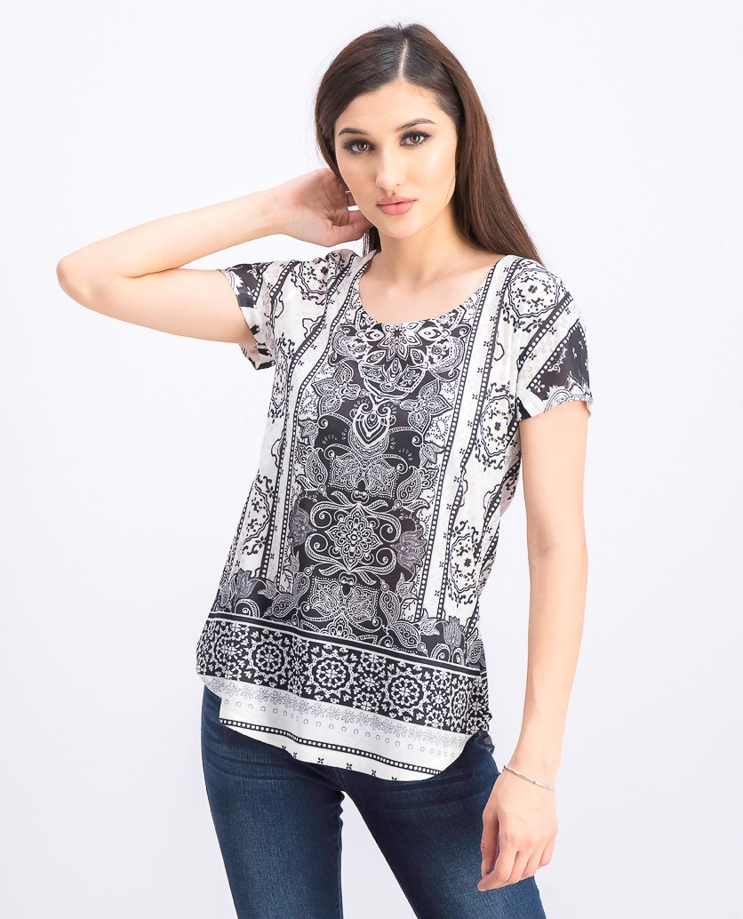 Women's Printed Scoop-Neck T-Shirt, Crystal Black
