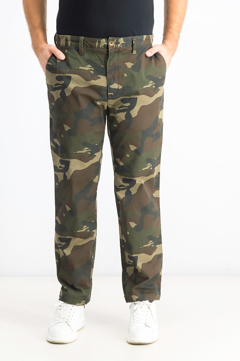 Men's Regular-Fit Stretch Camouflage Pants, Camo Green