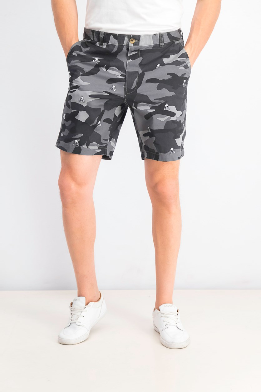 Men's Stretch Skull-Embroidered Camouflage Shorts, Black Combo