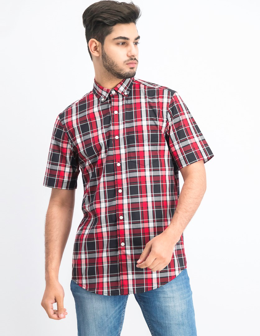 Men's Stretch Moisture-Wicking Plaid Shirt, Deep Black/Red