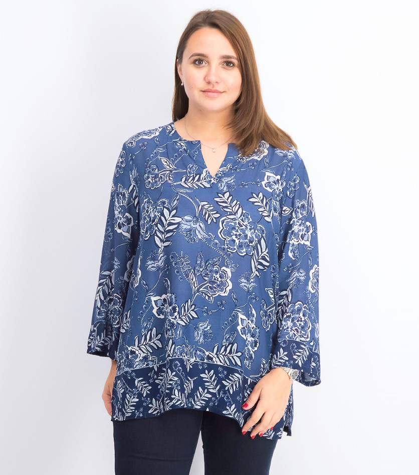 Women's Floral-Print Tunic, Intrepid Blue Combo