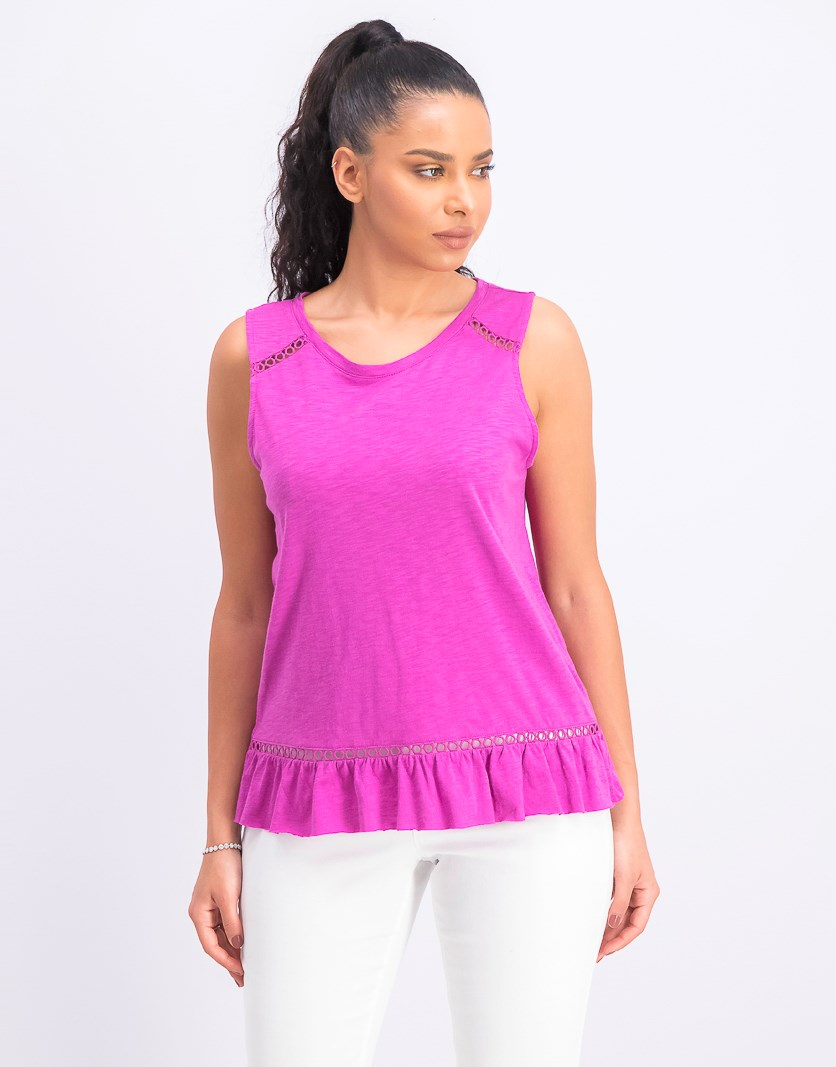 Women's Ruffled Cross-Over Back Top, Astor