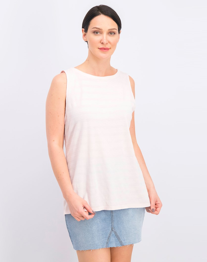 Textured Cotton Tank Top, Misty Pink
