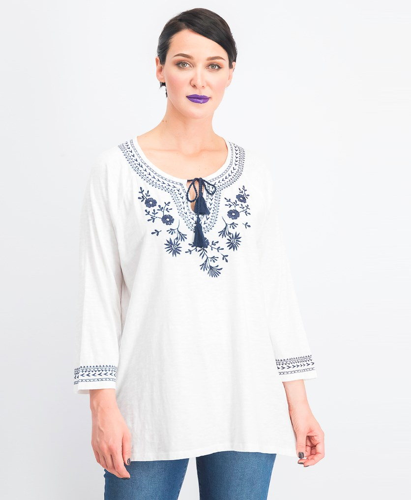 Women's Cotton Embroidered Tunic, Bright White