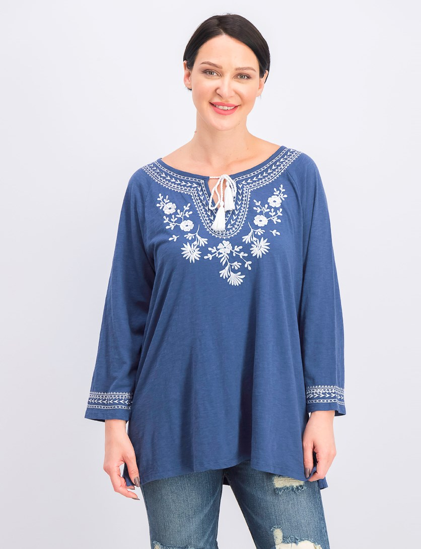 Women's Cotton Embroidered Tunic, Weathered Indigo