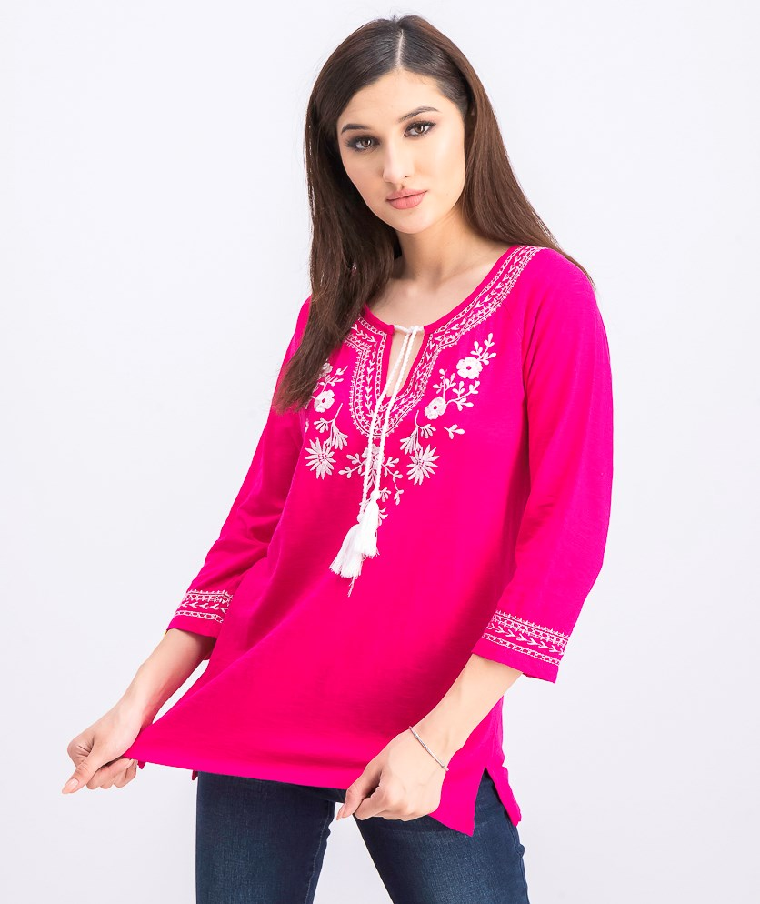 Women's Cotton Embroidered Tunic, Morrocan Pink