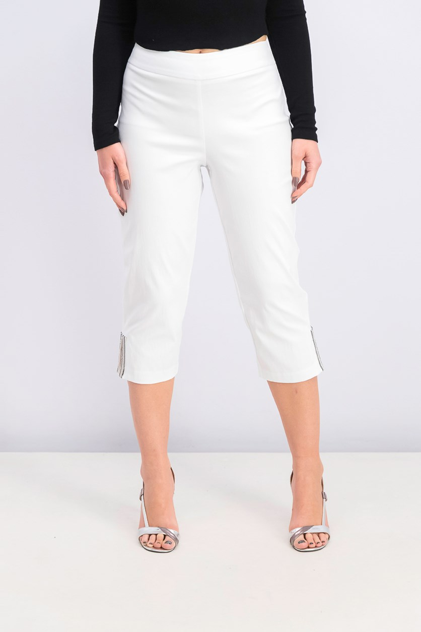 Womens Embellished-Hem Cropped Pants, Bright White