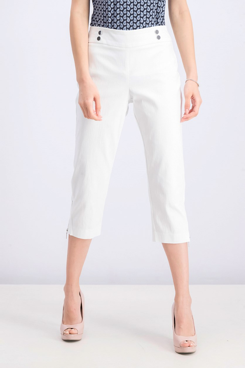 Women's Petite Cropped Zipper-Trim Pants, Bright White