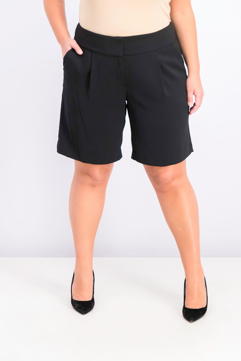 Women's Plus Size Wide-Waistband Shorts, Black