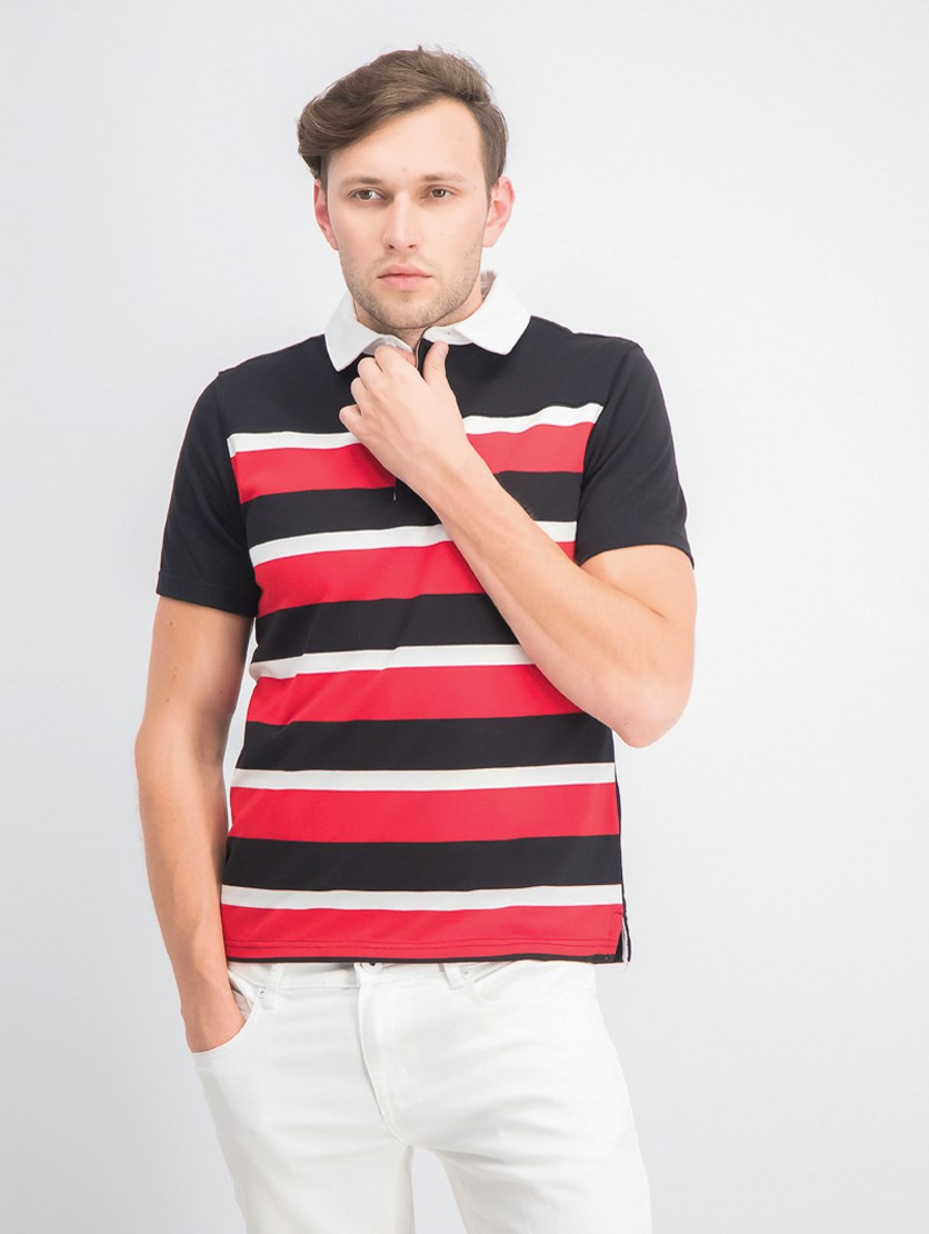Men's Colorblock Stripes Rugby Polo Shirt, Black Combo
