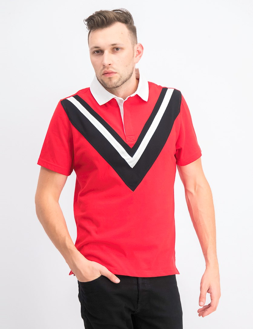 Men's Pieced Chevron Pattern Rugby Polo Shirt, Red