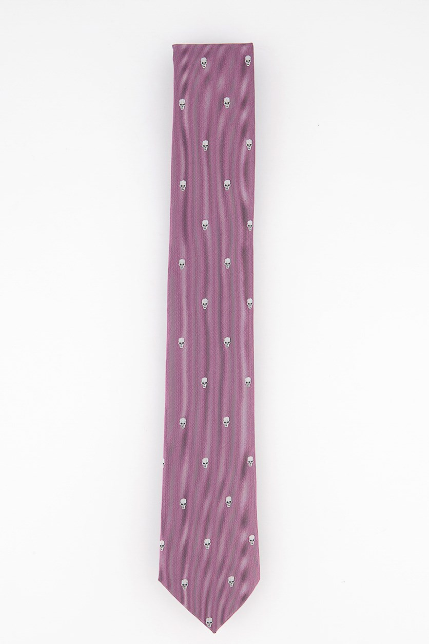 Men's Skinny Skull Neat Tie, Dusty Rose