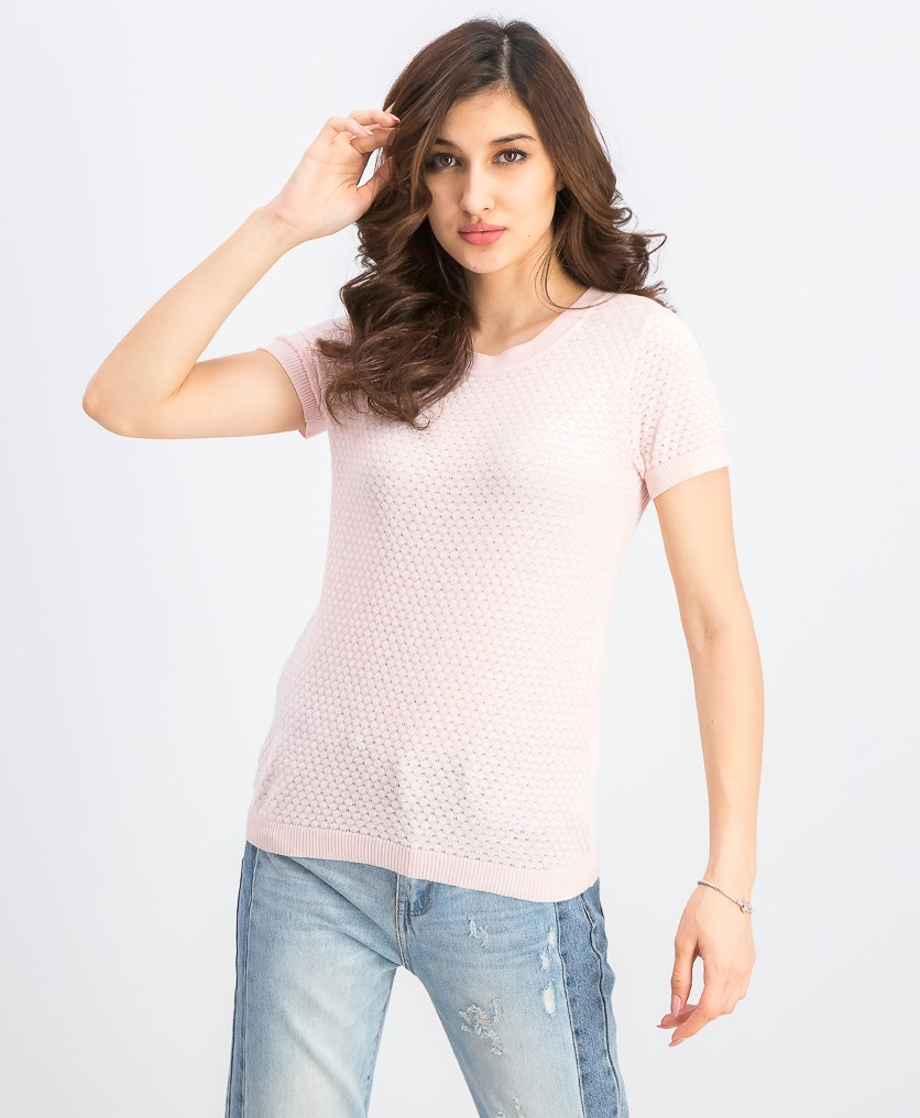 Women's Short-Sleeve Crew Neck Sweater, Potpourri