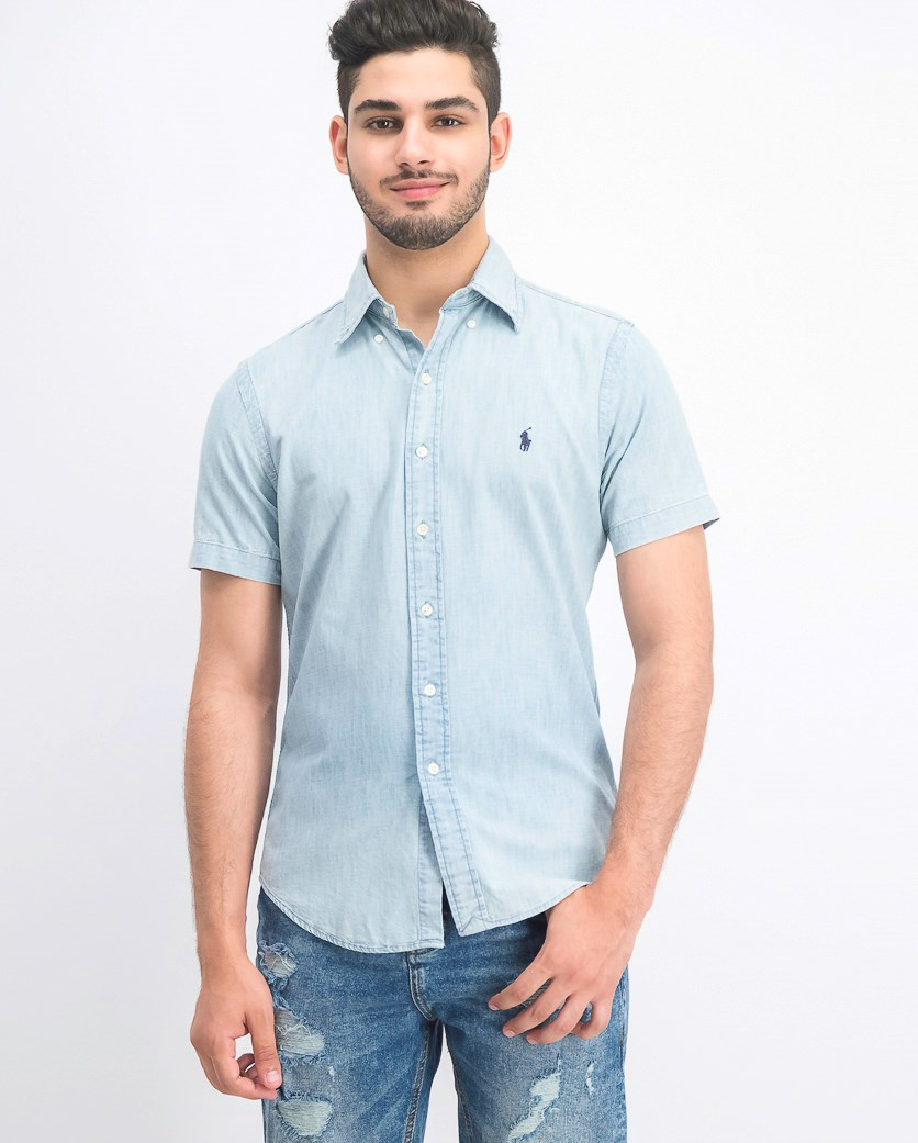 Mens Classic-Fit Chambray Shirt, Yacht Blue