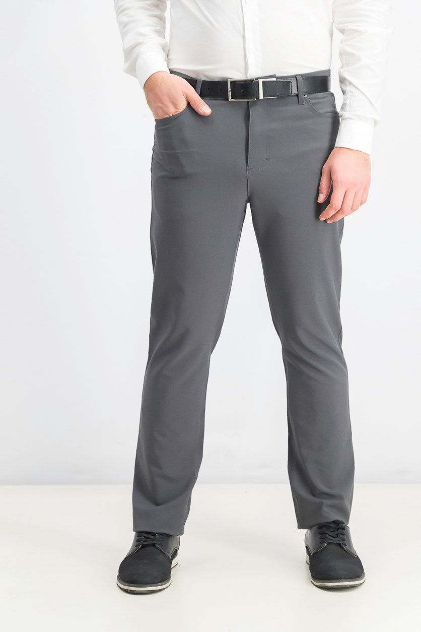 Men's Slim-Fit Stretch Tech Pants, Grey Pinstripe