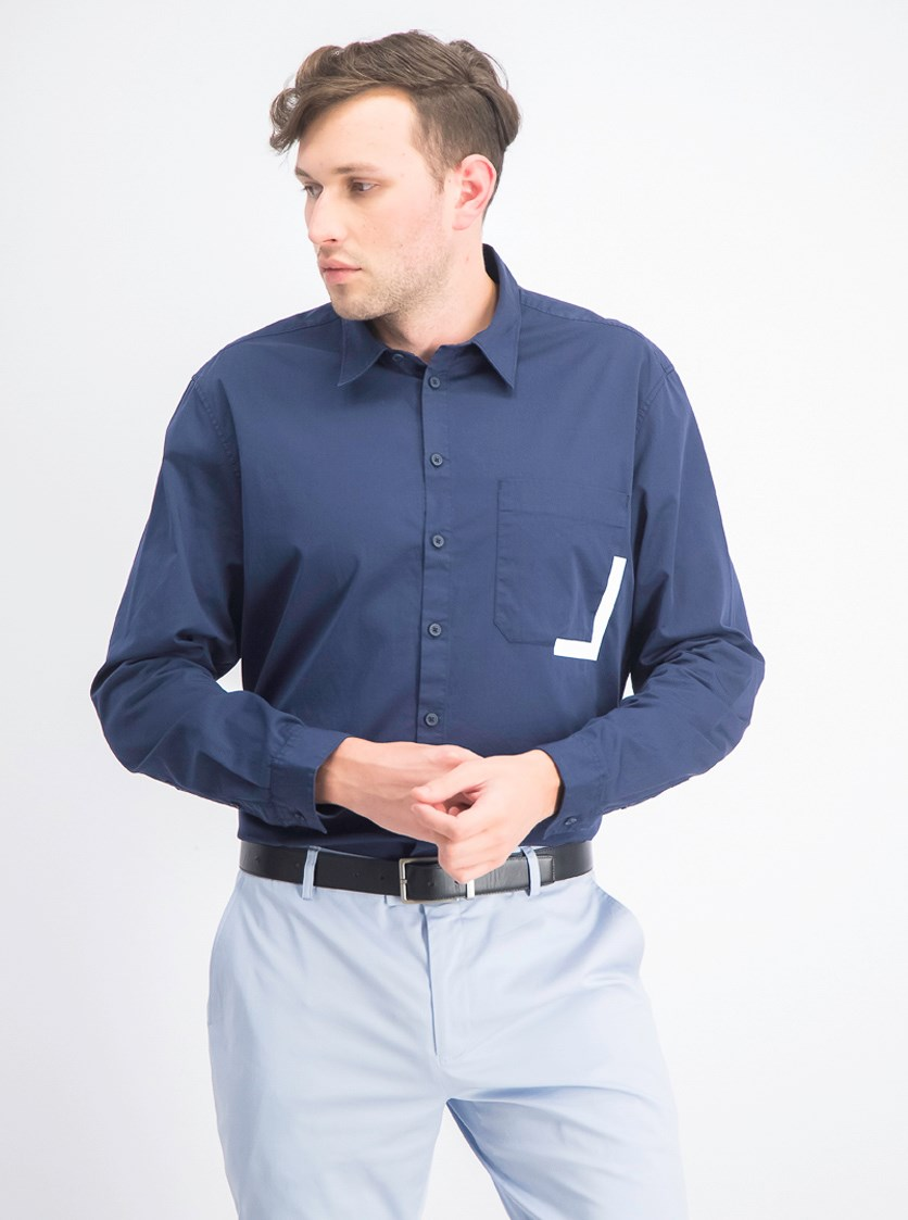 Mens Solid Logo Button-Down Shirt, Navy