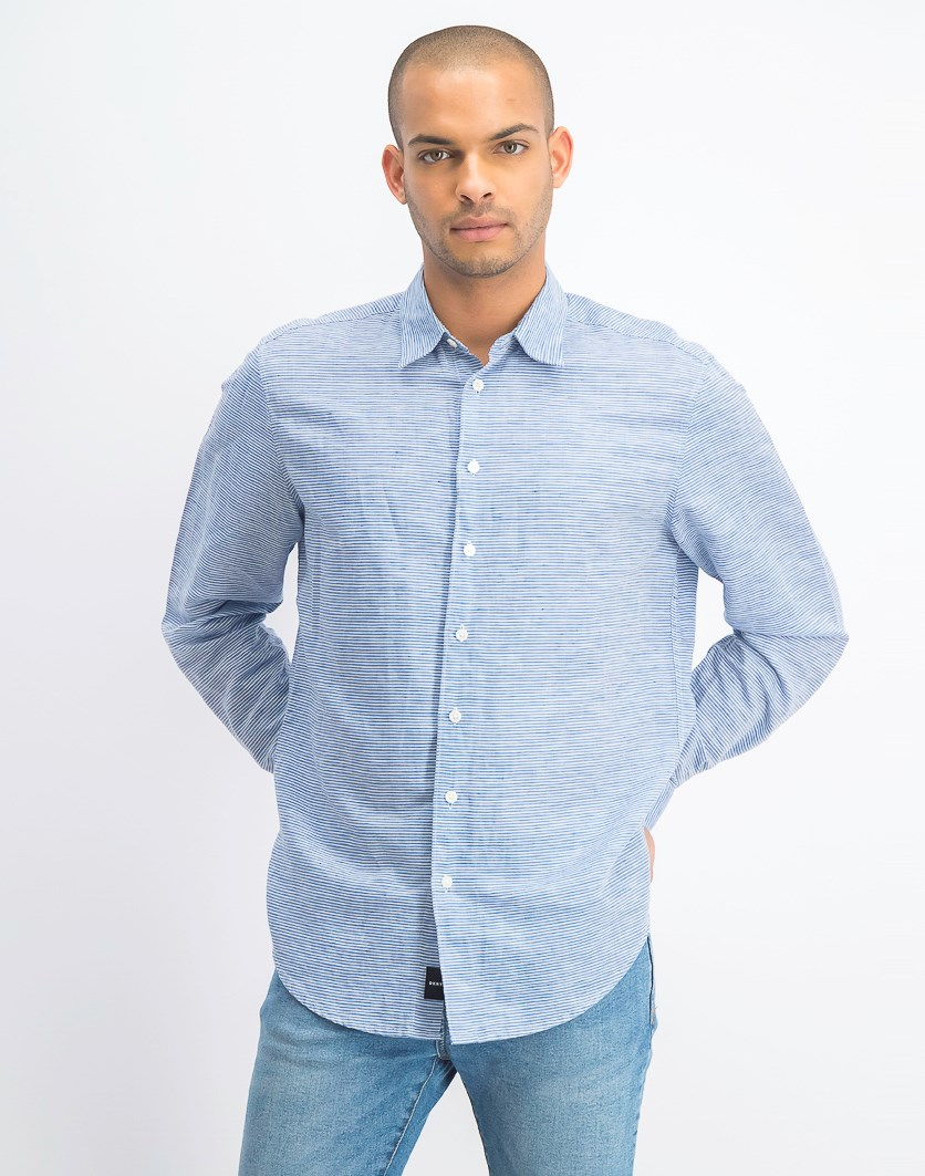 Men's Long Sleeves Fine Striped Shirt, True Blue