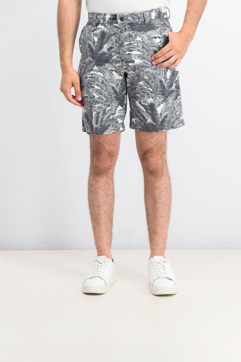 Men's Palm-Print Shorts, Grey Pinstripe